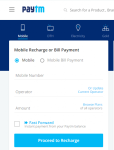 How to Recharge Mobile/DTH/Data card Using Paytm