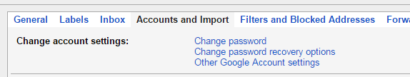 gmail account password change option