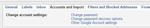 gmail account password change option