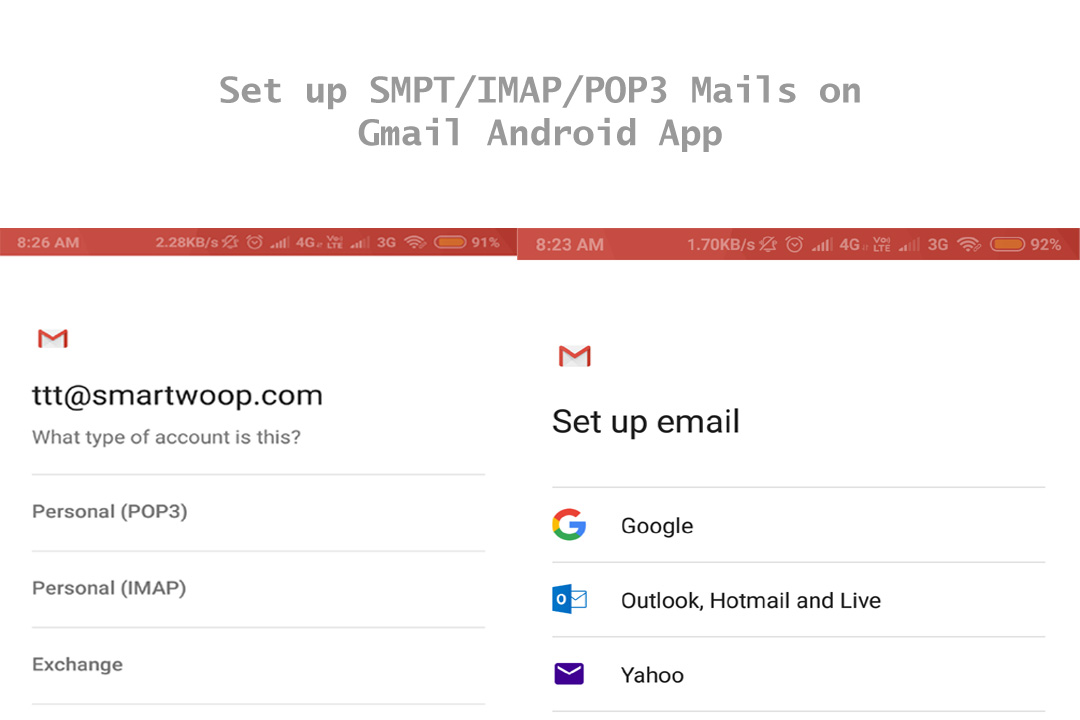 How to Setup SMPT/IMAP/POP3 Webmails on Gmail Android App